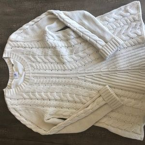 Cabi Cream Cable Lace-Up Sweater